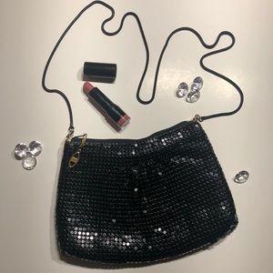 Vintage Black Sequined Evening Bag. Gold hardware